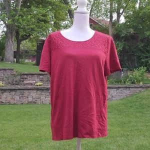 Jaclyn Smith maroon lace top XL